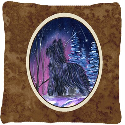 Starry Night Briard Indoor/Outdoor Throw Pillow