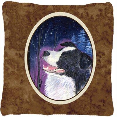 Starry Night Border Collie Indoor/Outdoor Throw Pillow