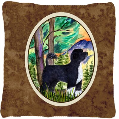 Portuguese Water Dog Indoor/Outdoor Brown Throw Pillow
