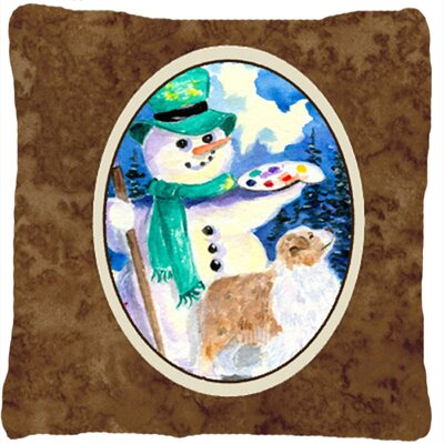 Snowman with Australian Shepherd Indoor/Outdoor Throw Pillow