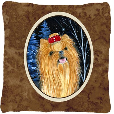 Starry Night Yorkie Indoor/Outdoor Throw Pillow