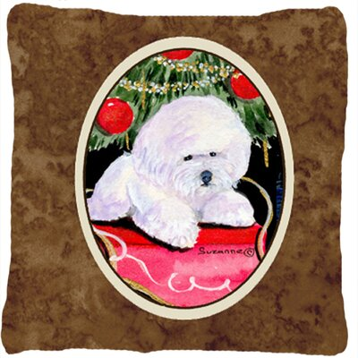 Christmas Tree with Bichon Frise Indoor/Outdoor Throw Pillow