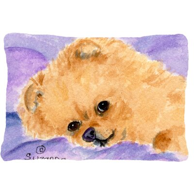 Pomeranian Indoor/Outdoor Purple/Brown Throw Pillow