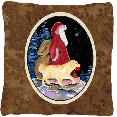 Santa Claus with Golden Retriever Indoor/Outdoor Throw Pillow
