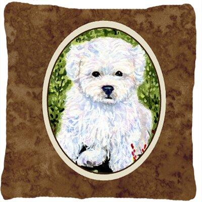 Bichon Frise Indoor/Outdoor Brown Throw Pillow