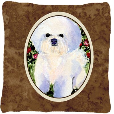 Bichon Frise Indoor/Outdoor Square Brown Throw Pillow