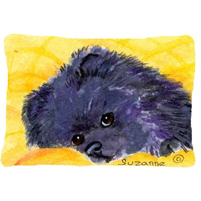 Pomeranian Indoor/Outdoor Purple/Gold Throw Pillow