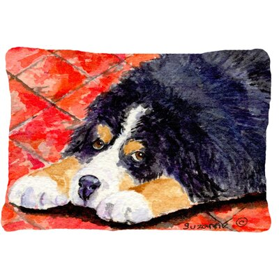 Dog on Red Background Indoor/Outdoor Throw Pillow
