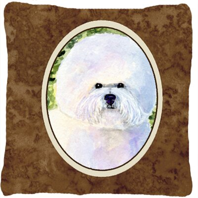 Bichon Frise Square Brown/White Indoor/Outdoor Throw Pillow
