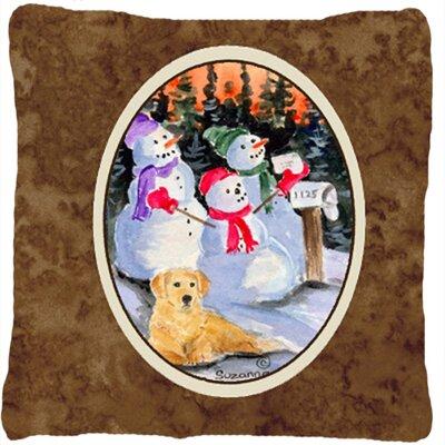 Snowman with Golden Retriever Indoor/Outdoor Throw Pillow