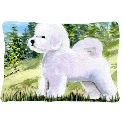Bichon Frise Green/White Indoor/Outdoor Throw Pillow