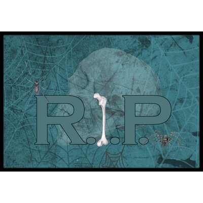 Rip Rest in Peace with Spider Web Halloween Doormat Rug Size: Rectangle 2 x 3