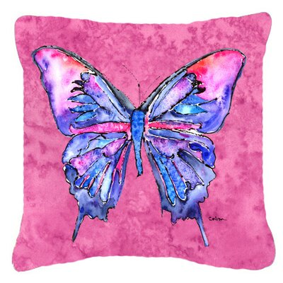 Butterfly Indoor/Outdoor Throw Pillow Color: Pink, Size: 14 H x 14 W x 4 D
