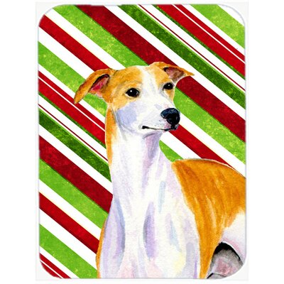 Whippet Candy Cane Holiday Christmas Glass Cutting Board
