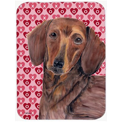 Valentine Hearts Dachshund Hearts Love and Valentine's Day Portrait Glass Cutting Board