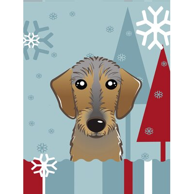 Winter Holiday Wirehaired Dachshund Vertical Flag