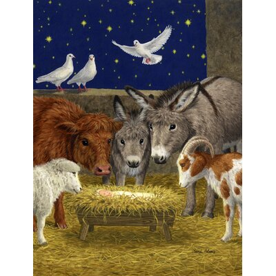 Nativity Scene With Just Animals Vertical Flag