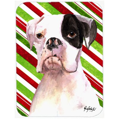 Cooper Candy Stripe Boxer Christmas Glass Cutting Board