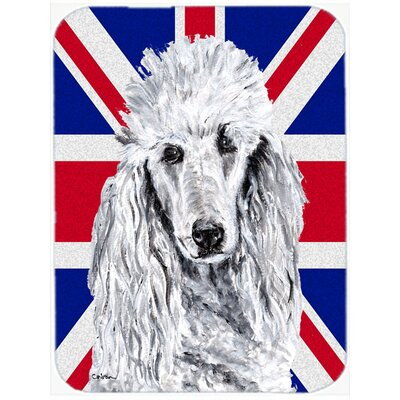 Union Jack Standard Poodle with English British Flag Glass Cutting Board
