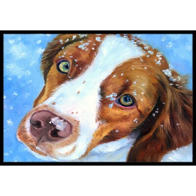 Snow Baby Brittany Spaniel Doormat Rug Size: 16 x 23