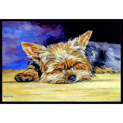 Yorkie Taking a Nap Doormat Mat Size: 2 x 3