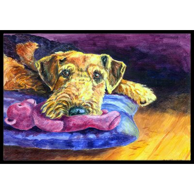 Airedale Terrier Teddy Bear Doormat Rug Size: 16 x 23