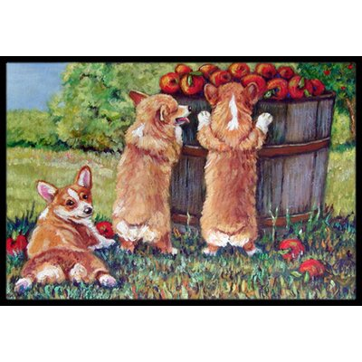 Apple Helper Corgis Doormat Rug Size: 2 x 3