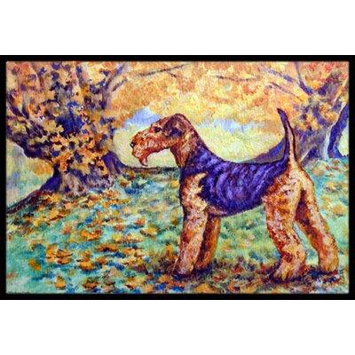 Autumn Airedale Terrier Doormat Mat Size: 16 x 23