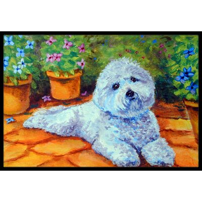Bichon Frise on the Patio Doormat Mat Size: 16 x 23