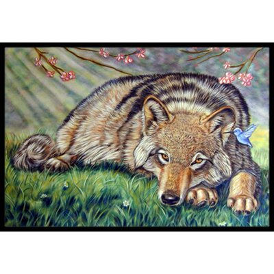 Wolf and Hummingbird Doormat Rug Size: 16 x 23