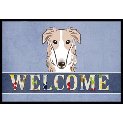 Borzoi Welcome Doormat Rug Size: 16 x 23
