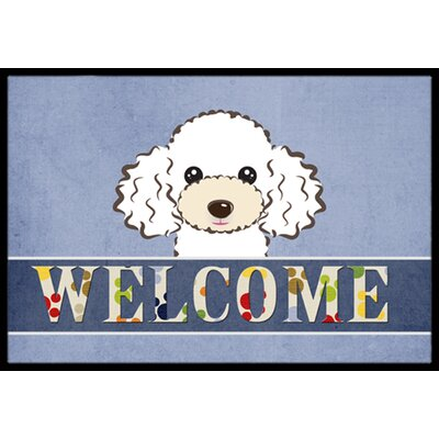 White Poodle Welcome Doormat Mat Size: 2 x 3