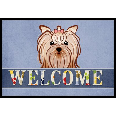 Yorkie Yorkshire Terrier Welcome Doormat Mat Size: 16 x 23