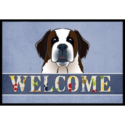 Saint Bernard Welcome Doormat Rug Size: 16 x 23