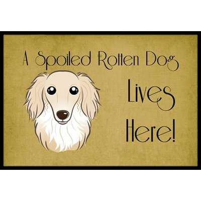 Longhair Dachshund Spoiled Dog Lives Here Doormat Rug Size: 16 x 23, Color: Cream