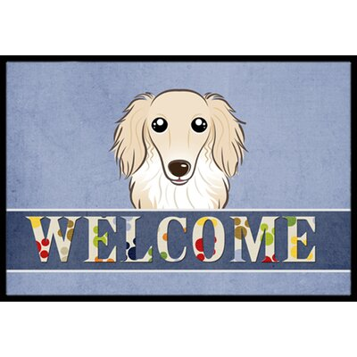 Longhair Dachshund Welcome Doormat Mat Size: 16 x 23, Color: Cream