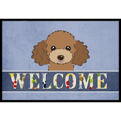 Chocolate Brown Poodle Welcome Doormat Mat Size: 16 x 23