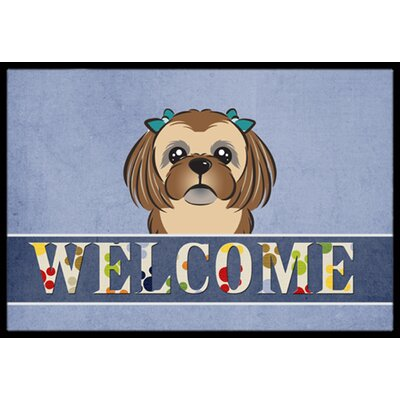 Shih Tzu Welcome Doormat Rug Size: 2 x 3, Color: Chocolate