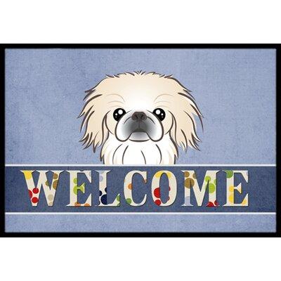 Pekingese Welcome Doormat Rug Size: 2 x 3