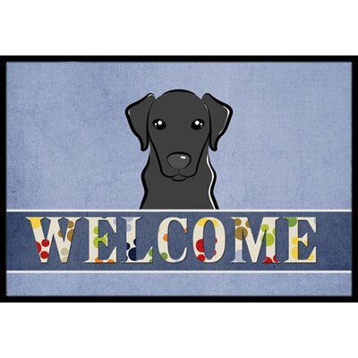 Labrador Welcome Doormat Mat Size: 16 x 23, Color: Black