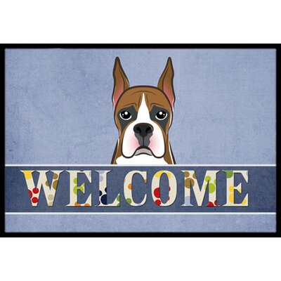 Boxer Welcome Doormat Rug Size: 2 x 3