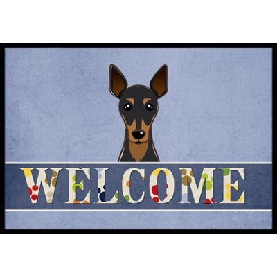 Min Pin Welcome Doormat Rug Size: 2 x 3