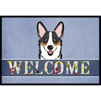 Corgi Welcome Doormat Rug Size: 16 x 23, Color: Gray/White/Brown
