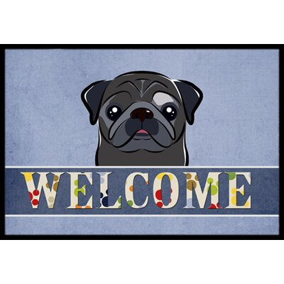 Pug Welcome Doormat Rug Size: 2 x 3, Color: Black