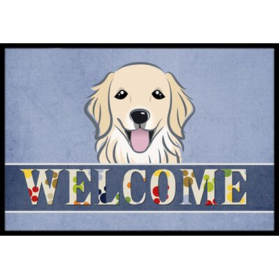 Golden Retriever Welcome Doormat Rug Size: 2 x 3