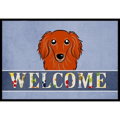 Longhair Dachshund Welcome Doormat Rug Size: 16 x 23, Color: Red