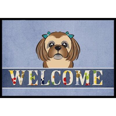 Shih Tzu Welcome Doormat Rug Size: 16 x 23, Color: Chocolate