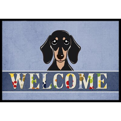 Smooth Black and Tan Dachshund Welcome Doormat Rug Size: 2 x 3