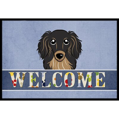 Longhair Dachshund Welcome Doormat Rug Size: 16 x 23, Color: Black/Tan