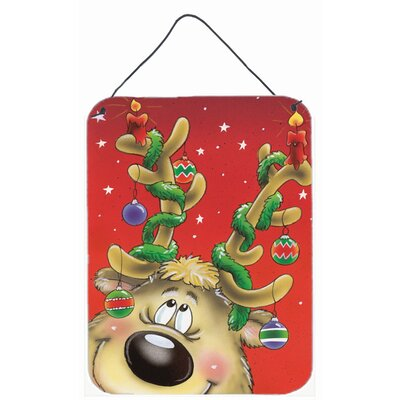Comic Reindeer with Decorated Antlers Graphic Art Plaque